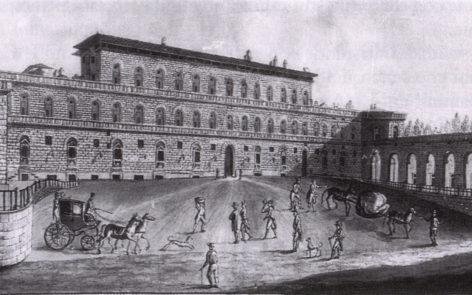 Veduta ottocentesca di Palazzo Pitti a Firenze