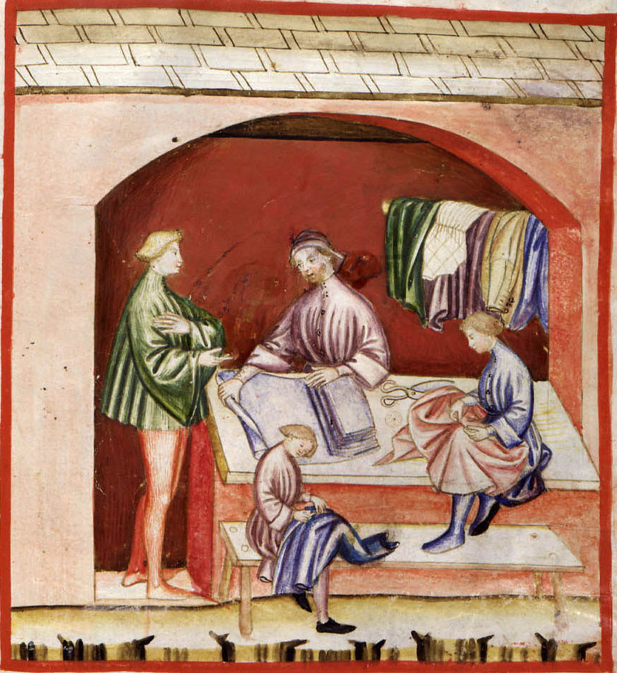 Una bottega nel Medioevo. Le donne nubili e quelle sposate (in assenza del marito) potevano lavorare