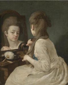 Una dama allo specchio. L'uso della cipria venne vietato durante la Rivoluzione Francese