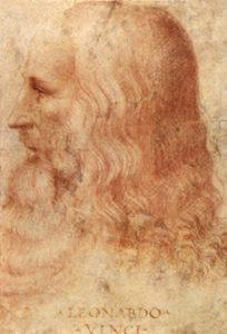 Profilo di Leonardo da Vinci. Tra le sue tantissime passioni ci fu anche la cucina