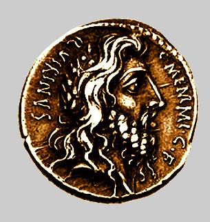 Antica moneta con raffigurato il volto di Romolo, primo re di Roma. Romolo avrebbe avuto un co-reggente, Tito Tazio