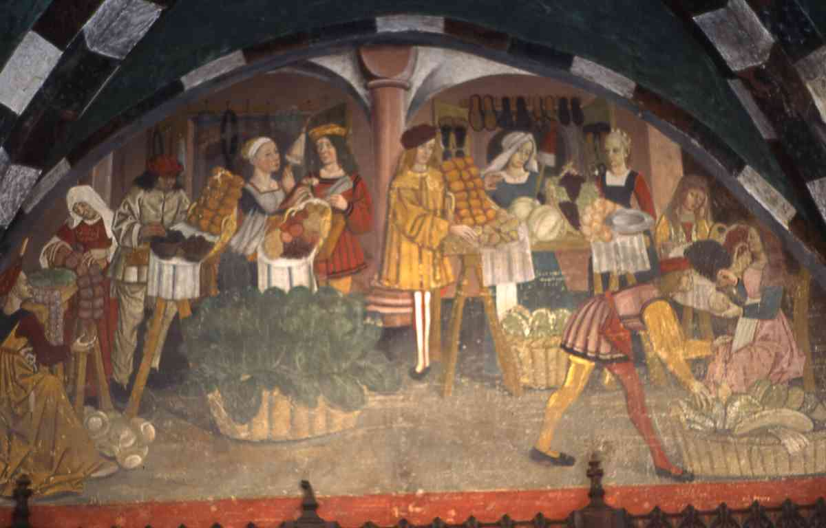 Mercato di frutta e verdura nel Medioevo