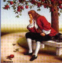 Isaac Newton medita sulla mela appena caduta dall'albero